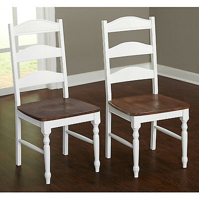 Dining Chairs Set of 2 Home Kitchen Furniture Wood Seat White & Walnut NEW