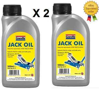 2 x Granville Jack Oil Hydraulic Fluid Trolley Bottle Compression Fluid 500ml