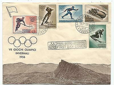 San Marino Serie Jeux Olympiques Olympic Games Lettera Cover 15.12.1955 Winter