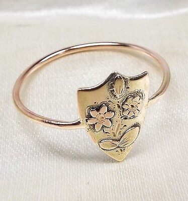 Antique Victorian Edwardian 9ct Gold One of a Kind Flower Shield Ring / Size O