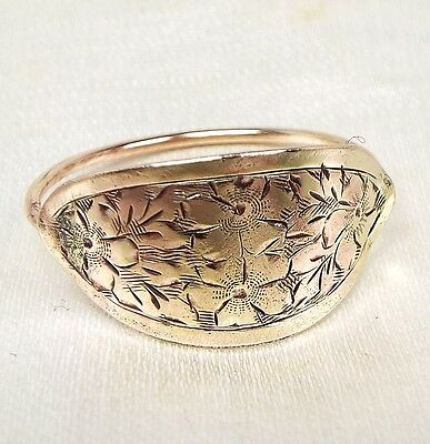 Antique Victorian Edwardian 9ct Gold Engraved Wild Flowers Panel Ring / Size P