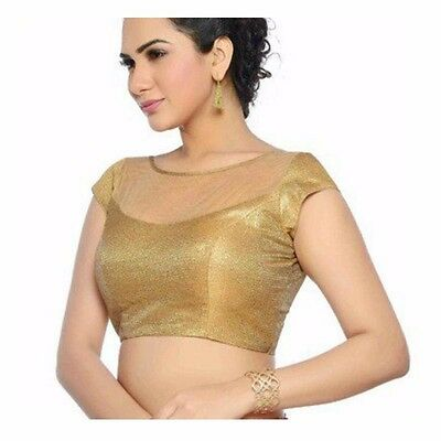 Readymade Partywear Saree Top Designer Golden Silk Net Choli Sari Blouse LBL02