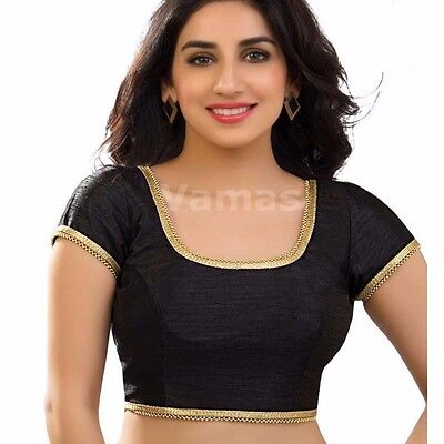 Latest Ready Made Black Dupin Saree Choli Designer Sari Top Wedding Wear Blouse