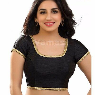 Readymade Saree Choli Designer Sari Top Black Dupin Wedding Wear Blouse LBL16