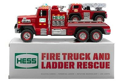 LOT OF 2 - 2015 Hess Fire Truck and Ladder Rescue Truck Brand New in Box