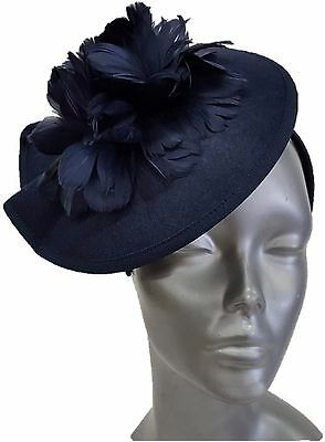 Swan Hat, Derby, Preakness, Church, Dress, Wedding- Ladies Navy Felt Fascinator