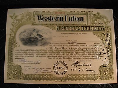 Vintage Common Stock Certificate Western Union Telegraph Co. 1961