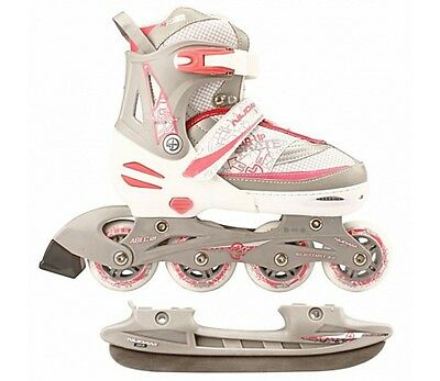 Nijdam Inline Combo Ice Skates UK 51/2 to 8 White/Silver/Pink Blades Adjustable