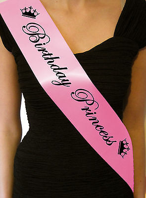 Birthday Princess Party Sash 13Th 16Th 18Th 21St 30Th Night Out Accessory Gift