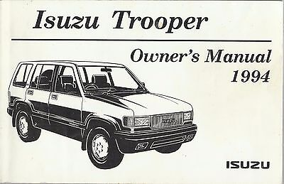 ISUZU TROOPER PETROL & DIESEL original 1994 English lang owner's handbook manual