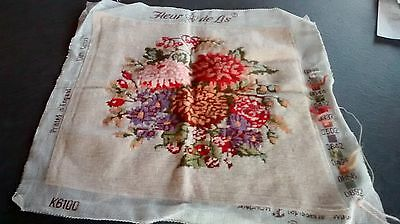 """Complete Hand Made Tapestry Picture - Cuhion front English floral 14"""" FREEPOST"""