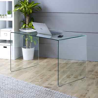 Geo-Glass Large Clear Glass Desk - Toughened Tempered Bent Safety Office - GG90