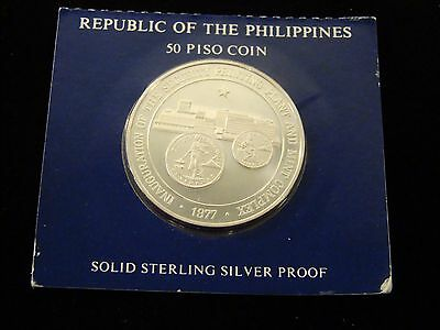 1977 PHILIPPINES 50 PISO STERLING SILVER PROOF COIN Franklin Mint - Box and COA