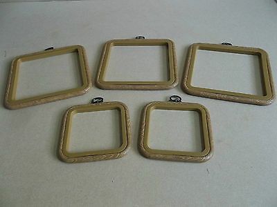 5 x Wood Effect Square Flexi Hoops With Hangers For Embroidery & Cross Stitch