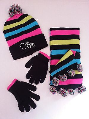 """Winter 3 Pc Double Knitted Hat, Scarf & Glove Set With """"diva"""" Embroidery On Hat"""