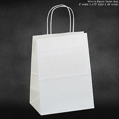 "8""x4.75""x10.5 White Kraft Paper Bags, Shopping, Merchandise, Party, Gift Bags"