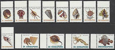 SINGAPORE 1977 marine life/shells/fish, margin set of 13, mint MNH, SG#289-301