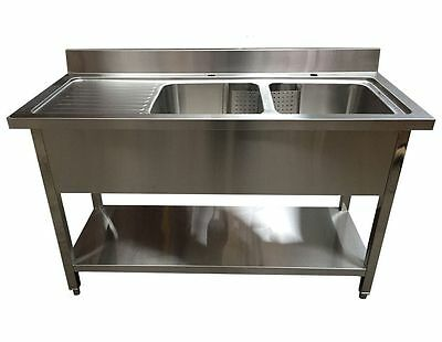 1.4M Commercial Stainless Steel Lhd Double Bowl Sink - 600 Series