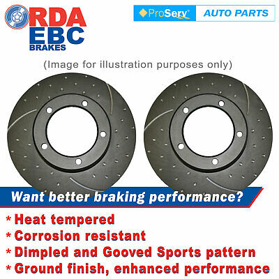 Rear Pair Slotted Disc Brake Rotors Fits Subaru Wrx Turbo 1994-2002 (Solid 266Mm