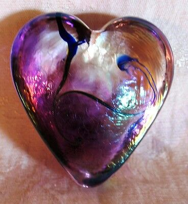 Hand Blown Glass Paper Weight in the Shape of a HEART,  Beautiful Colors!