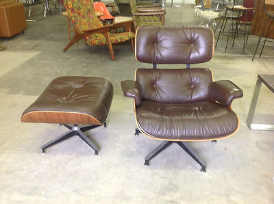Vintage Herman Miller Eames Lounge Chair Ottoman Rosewood Mid Century Modern