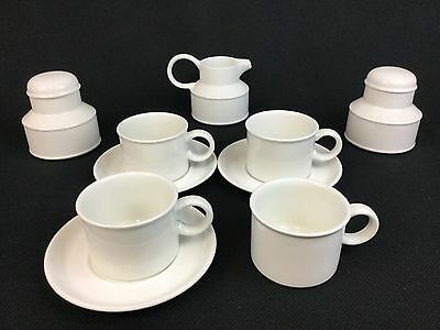 Wedgwood Stonehenge Midwinter White 4 Cups 3 Saucers Creamer 2 Sugar Bowls
