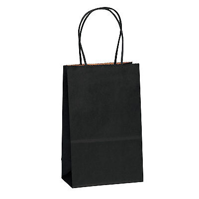 "5.25"" x3.25"" x8"" Black Kraft Paper Bags Shopping Merchandise Party Gift Bags"