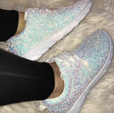 Womens Ladies White Glitter Sparkle Sparkly Sneakers Trainers Running Shoes Gym