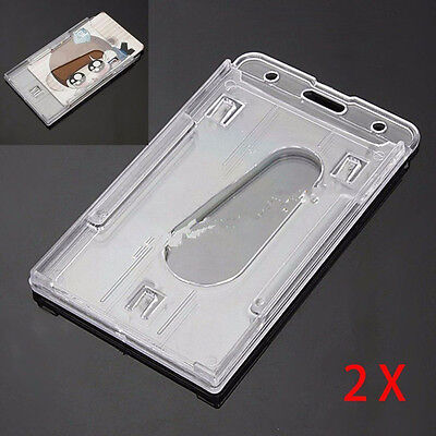 2xHolder Clear ID Badge Double Card Holder Staff Vertical Hard Plastic Business