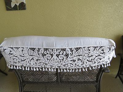 Antique Lace Cutwork Shelf Runner Angels Mantle Scarf French Fireplace Cloth
