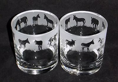 """New Etched Whiskey Glass(es) """"Donkey"""" - You can purchase 1 or 2 - Beautiful Gift"""