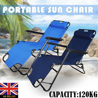New Folding Sun Lounger / Bed, Garden Reclining Chair - Trail Outdoor Camping