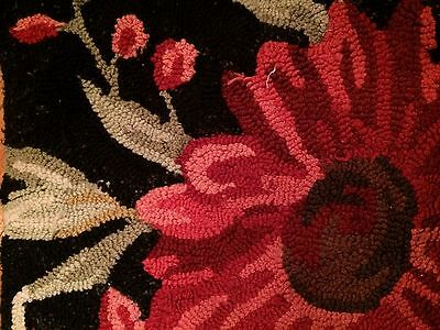 Red Black Poppy Zinnia Sun Flower Kitchen Hooked Cotton Or Wool Hooked Rugs
