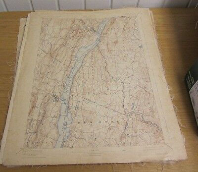 "1925 US Geological Survey Catskill New York Map 16"" by 20"" Cloth Backed Antique"