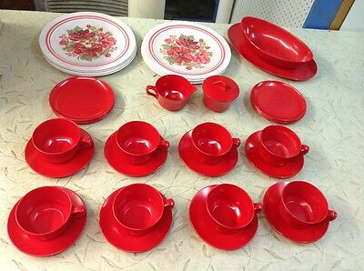 FREE SHIPPING!! Vintage ARTISAN WARE 37PC Melmac Red White Dinner Plate Cup