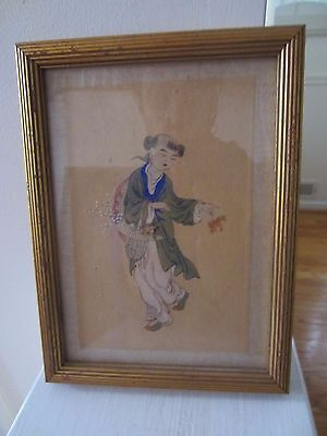 Collectible Water Color/paint/print Ancient Chinese Lan Tsai Ho Youth Basket Flw