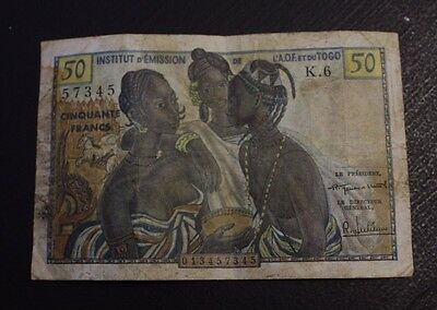 French West Africa 50 Francs Togo P45 Fine Stained
