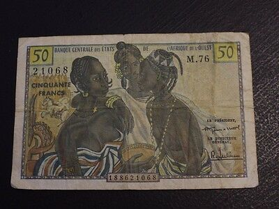 French West Africa 50 Francs P1 VG