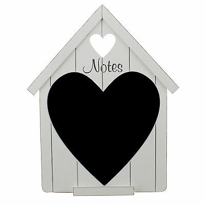 Shabby Chic White Wooden House Shape with Heart Chalk Board & Chalk Holder