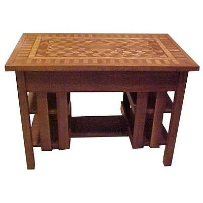 Early 20th c.Arts & Crafts Stickley Mission Style Desk Table Inlay Top-REDUCED