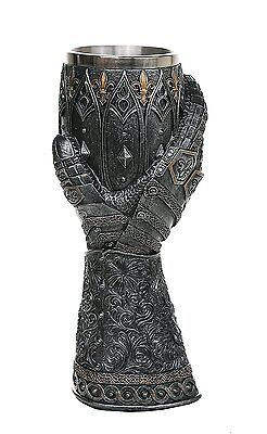 """Urban Statues Medieval Knight Lions Heart Gauntlet Style Wine Goblet 9"""" H"""