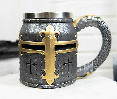 Urban Statues Crusader Knight Mug Tankard 13oz Stainless Steel Rim Fantasy