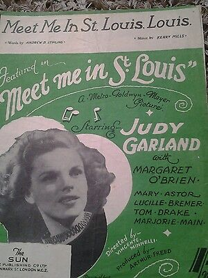 Vintage Old Collectable 1940 's Judy Garland  Music Sheet