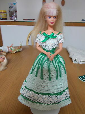 Crochet Fashion Doll Barbie Outfit-Europeon Dress-Doll Included
