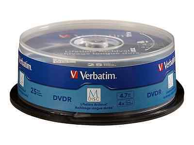 Verbatim M-Disc DVDR 4.7GB 4X with Branded Surface - 25 Pack Spindle 98908