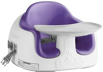 New Bumbo 3-in-1 Multi Seat Floor Booster Baby Feeding Chair Plum Removable Tray