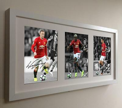 Wt Signed Rooney-Pogba-Ibrahimovic Manchester United Photo Picture Autographed