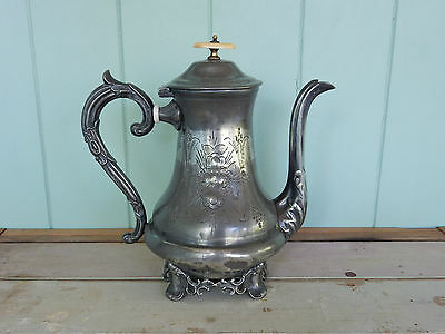 Beautiful Antique Victorian Edwardian Silver Plated EPBM Large Tea Coffee Pot