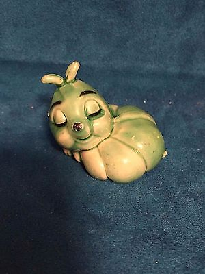 Vintage Miniature Hard Plastic Green Worm Figurine Dollhouse Fairy Garden Animal