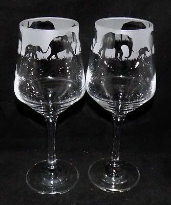 "New Etched ""ELEPHANT"" Wine Glass(es)  - Free Gift Box - Large 390mls Size Glass"